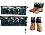 Cubrebotas etnico country TIRA DE PLUMAS naturales AZULES. Color de Polipiel a elegir en opciones. Diseño único y exclusivo. Handmade