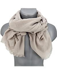 Écharpes foulard d'homme élégant et tendance de la dernière collection by Ella Jonte Classic-Line beige uni coton