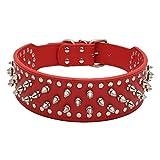 Fully Hundehalsband Halsband Pilz Nieten PU Leder Halskette Kragen Punk Blogger Verstellbar Welpen Labrador Huskie (L, Rot)