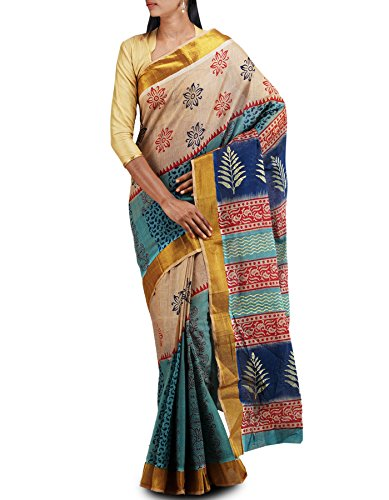 Unnati Silks Women Cream-Blue pure handloom Jute cotton saree