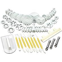 47 piezas cortadores de galletas eyector + modelado + alisador + decoración de bordes fondanz mazapán pasteles [version:x7.5] by DELIAWINTERFEL