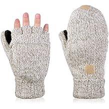 Vbiger Guantes Invierno Unisex Mitones de lana de punto caliente Manoplas