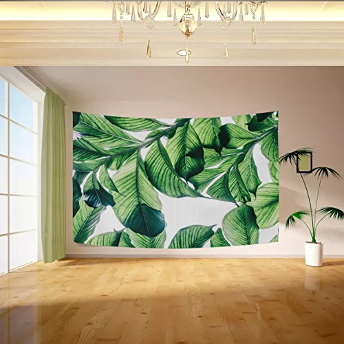 Vipsa Tapestry Green Banana Leaves White Wall Hanging Artistic Light-Weight Polyester Fabric Cottage Dorm Wall Art Home Decoration 80 x 60 inches Gray Wall Decoration -