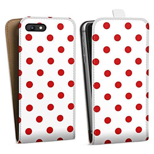 Apple iPhone 6s Hülle Case Handyhülle Muster Polka Punkte Weiß Rot Downflip Tasche weiß