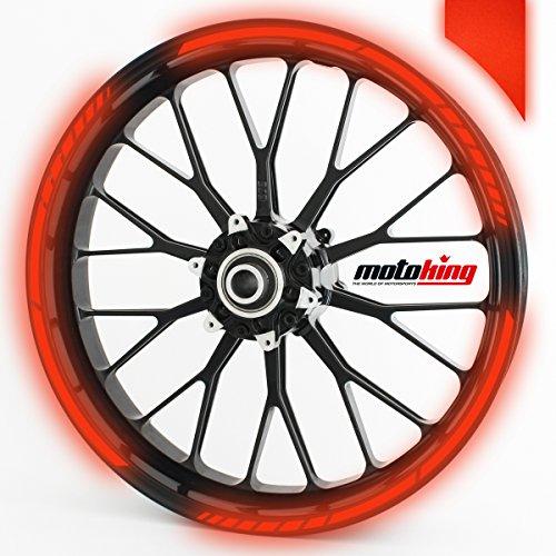 Felgenrandaufkleber GP im GP-Design passend für 17 Zoll Felgen für Motorrad, Auto & mehr - REFLEKTIEREND ROT (Motorrad-felgen)