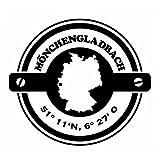 Wadeco Koordinaten rund Mönchengladbach Wandtattoo Wandsticker Wandaufkleber 35 Farben verschiedene Größen, 126cm x 114cm, dunkelblau