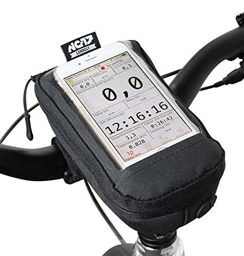 NC-17 Connect Universal Vorbautasche / Stem bag / Fahrrad-, Smartphonetasche mit Staufach, Kabeldurchlass, Klettverschluss / wasserabweisend (Externer Akku Für Samsung S3)