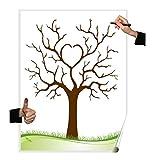 Wedding Tree Poster Herzbaum, Partyspiel Fingerabdruck Baum, Hochzeit, Geburtstag, Gästebuch (Herzbaum blanko)