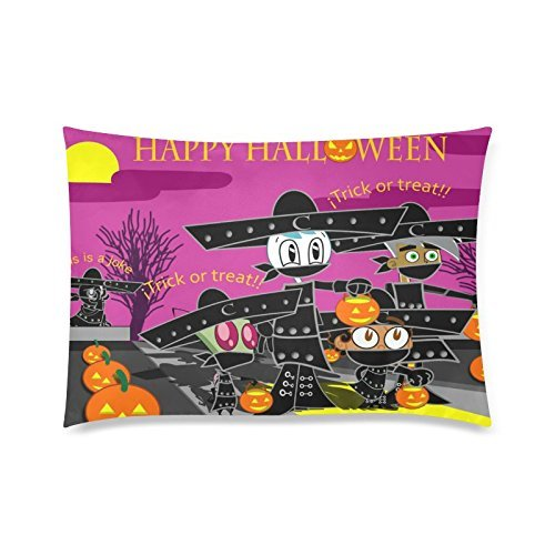 Custom Happy Halloween The Nightmare Before Christmas Pillowcase 16x24 (Twin sides) Zippered Rectangle PillowCases Throw Pillow Covers (Christmas Before Happy Halloween Nightmare)