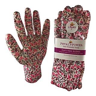 2 Pairs Ladies Gardening Gloves - Lightweight & Durable Work Gloves for Women - Perfect For Garden & Household Tasks - Best Gardening Gift for Women - On Sale BUY NOW! (Medium, Candy Pink Floral)
