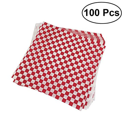 100 Sheets Checkered Deli Basket Liner Checkered Food Wrapping Papers Sandwich Hamburger Wrap Prevents Food Stains,100Pcs Food Basket Liner
