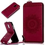 Galaxy S5 Mini Hülle,Galaxy S5 Mini Schutzhülle,Prägung Floral Spitze Blumen Mandala Muster PU Lederhülle Flip Hülle Handyhülle Ständer Tasche Wallet Case Schutzhülle für Galaxy S5 Mini,Rose Red
