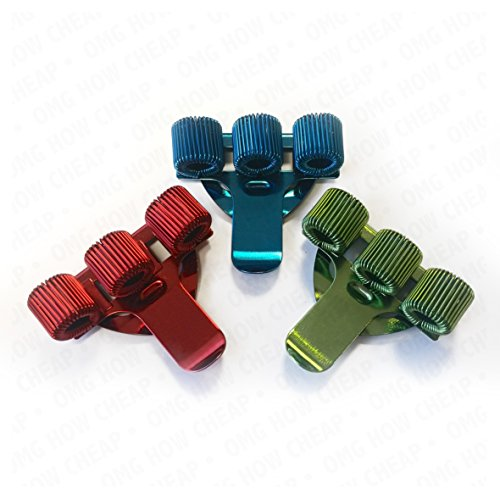 COLOURED TREBLE TRIPLE PEN HOLDER POCKET PEN CLIP [PACK OF 3] 1 x Red, 1 x Blue and 1 x Green perfect for Nurses, Doctors