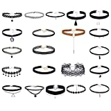 Tpocean 21PCS Adjustable Vintage Lace Tattoo Girls Choker Set Gothic Velvet Necklaces