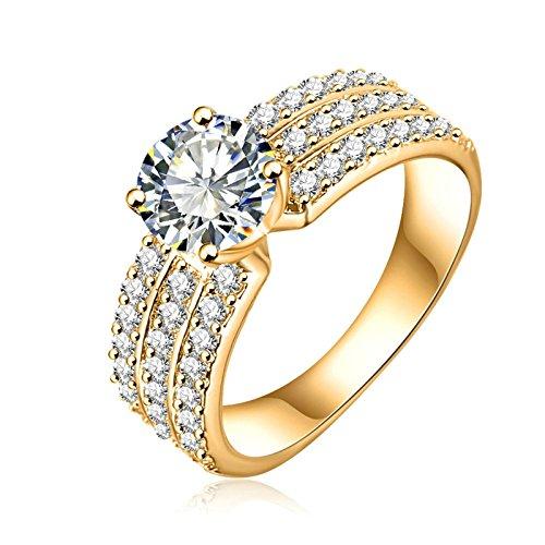 AMDXD Schmuck Damen Ringe Vergoldet Ring 3 Reihe Zirkonia mit Österreich Kristall Golden Ringe Rubin-ring Mit Rose Gold