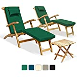 Two Serenity Teak Steamer Chairs with cushions and Picnic Garden Table Set (Green) - Jati Brand, Quality & Value