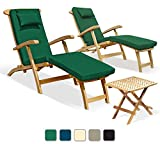 Two Serenity Teak Steamer Chairs with GREEN cushions and Picnic Garden Table Set - Jati Brand, Quality & Value