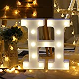 Transer Alphabet LED Letter Lights, LED Marquee Warm White Light Up Letters Sign For Wedding Birthday Home Party Bar Decoration Night Light Lamp (H)