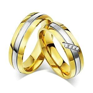 Jiedeng Schmuck Unisex Ringe aus Edelstahl Ring mit CZ Zirkonia Freundschaftsringe Partnerringe Ehering Trauringe für Damen-Ring, Herren-Ring Gold Silber – mit Geschenk Tüte