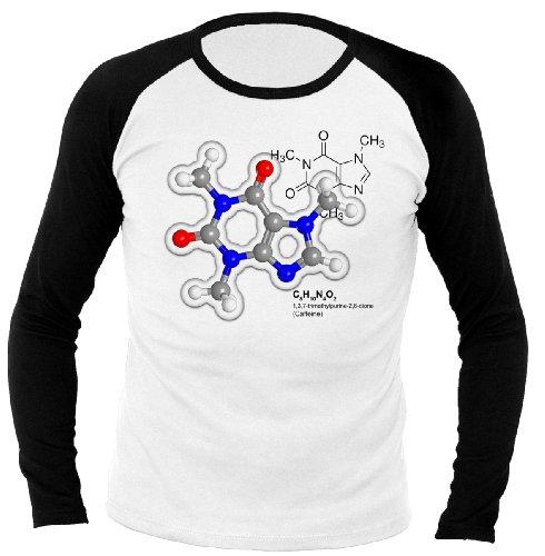 Geek Caffeine Molecule Science - Physics - Nerd inspired 700983 Herren Longsleeve Raglan Weiß/Schwarz