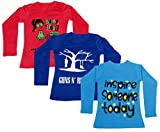 IndiWeaves Girls Cotton Full Sleeve Printed T-Shirt (Pack of 3)_Red::Blue::Blue_Size-8-9 Years