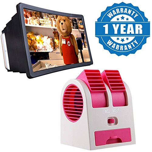 Drumstone Adjustable Angles Scented USB Electric Air Conditioning Mini Fan and F2 Enlarged Screen Amplifier Magnifier 3D Screen
