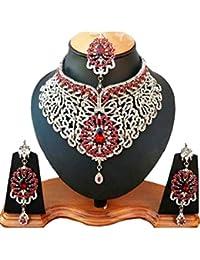Fkraft Parure Bijoux Indiens Bollywood Mariage Oriental Rouge et Argent 1a8b8cca0ee8