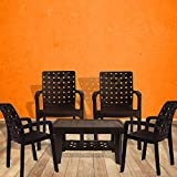 #3: Italica Furniture - Armchair and Table Combo - Indoor and Outdoor Furniture Set  (9408 & 9503, Brown, Set of 4 Chairs)