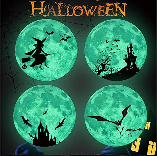 oon Halloween Fledermaus Burg Hexe Vampir Fledermaus Mond Burg Luminous Moon Wandaufkleber Festival Aufkleber 30X30Cm ()