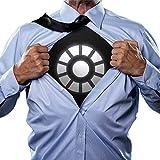 Goods & Gadgets Schwarzes Light-Up Arc Reactor LED Energie-Reaktor Iron-Man T-Shirt Slim Fit - Größe L