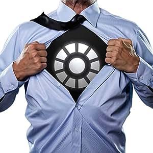 Goods & Gadgets Schwarzes Light-Up Arc Reactor LED Energie-Reaktor Iron-Man T-Shirt Slim Fit - Größe S