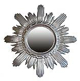 BAROCK ANTIK WANDSPIEGEL SONNE IN Silber 42x42 CM RUND RUNDER REPRO SPIEGEL SUN