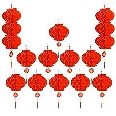 Idea Regalo - Luoistu Lanterne Cinesi 12 Pezzi Plastica Rosso Lanterna Carta Appendere Lanterne Diametro 27 cm per Il Festival di Primavera Cinese, Matrimonio, Ristorante, Decorazione del Partito