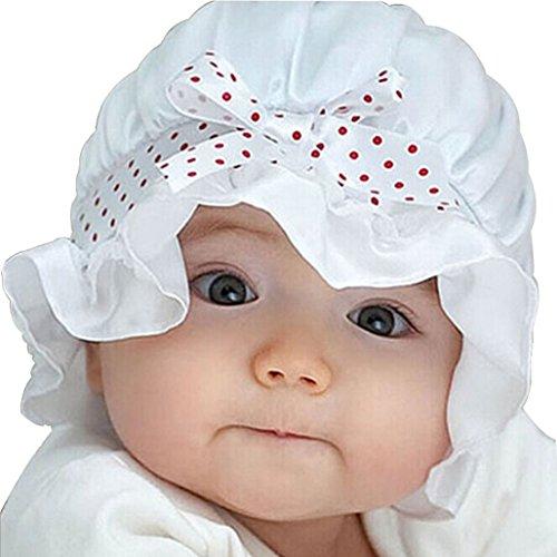Kolylong® Newborn Baby Sommer Sonne Tupfen Beanie Hat (2-12 Monate) (Weiß)
