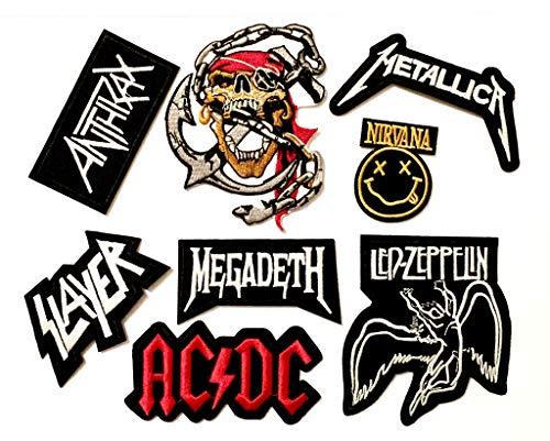 Skullz-UK 8 Stück bestickte Aufnäher/Aufbügler Rock Heavy Metal Band – Metallica Slayer Anthrax Megadeth Nirvana Ledzeppelin AC/DC und Totenkopf Pirat (003)