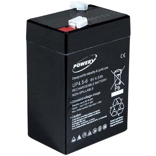 POWERY Batteria al Gel di Piombo Peg Perego Feber Injusa Smoby Diamec - Automobile giocattolo6V 4,5Ah (in Sostituzione di 4Ah 5Ah)