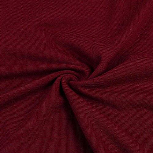 Oyedens Femme T-Shirt à Manche Longue Couture de Dentelle Chemise Grand Taille (XL-4XL) Blouse Femme Vetements Femme Pas Cher Mode Col V Casual Chemise Lâche Chemisier Classique Rouge