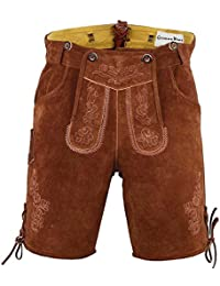 Leather Shorts Trachten Lederhosen with Suspenders in brown, Size:52