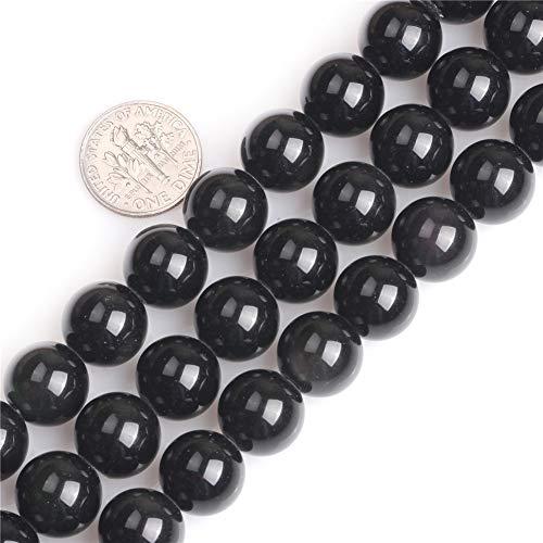 sidian natürliche Edelsteine lose Perlen für Schmuckherstellung rund 6 mm großes Loch 1,5 mm - 2 mm, Schwarz (12 mm), 12 mm ()