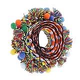 FITYLE 1 Yard Bunte Pomponborte Bommelborte Pomponband Pompons-Borte Dekoband mit Quaste Pompoms zum Nähen Basteln dekorieren - Farbe 3, 60mm