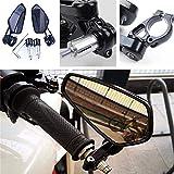"""Nero Universale Moto Specchietti Retrovisori Custom 7/8"""" 22mm Manubrio Tondo per Scooter Cruiser Bici da Sportiva Bici da Strada"""