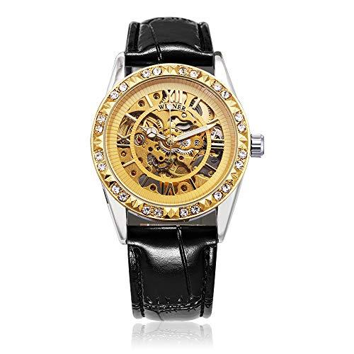 Mechanische Uhr, SAINKO für Männer/Frauen, Automatische Uhr Wird am Handgelenk getragen, EIN Rose-Gold-Gehäuse,Luxuriöse mechanische Uhr mit echtem Lederband. (Watch83)