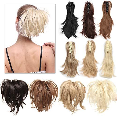 """TESS Ponytail Extensions Pferdeschwanz Haarteil DIY Haarverlängerung Clip in Synthetik Haare für Zopf Haarteil Hair Extensions 12""""(30cm)-95g Honigblond/Blond"""
