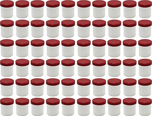 60 Salbendöschen, Creme-döschen, Salbenkruken hoch, 12ml Inhalt mit roten Deckeln - MADE IN GERMANY