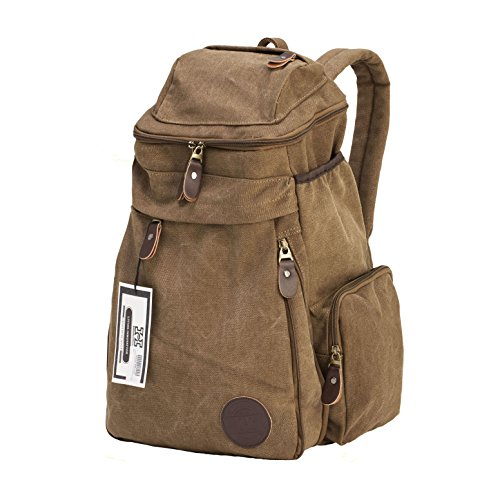 Travel Vintage Canvas Messenger Backpack Sport Rucksack Camping School Satchel Tote Hiking Military Laptop Bag Hand Luggage + Free 24 Card Holder Wallet by HiCollections (Coffee Brown)