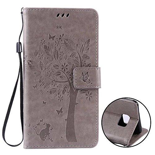 Samsung Galaxy C7 Hülle Cover Case Leder Muster Flip Etui Case Echt,Nnopbeclik Neues Design PU...