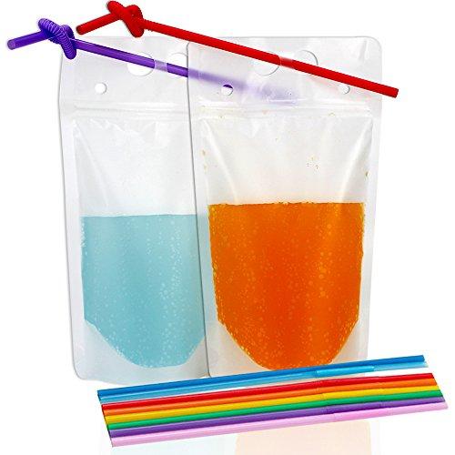 Tomnk 50 durchsichtige Getränke Frucht Versiegelte Beutel aus Kunststoff, tragbarer durchsichtiger Druckverschlussbeutel fur Getränke, Fruchtsäfte , Milch (Beutel Unterstützen)