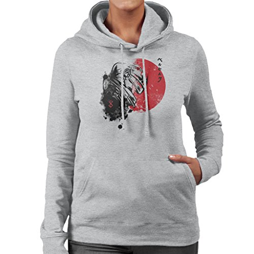 Red Sun Guts Berserk Women's Hooded Sweatshirt Heather Grey