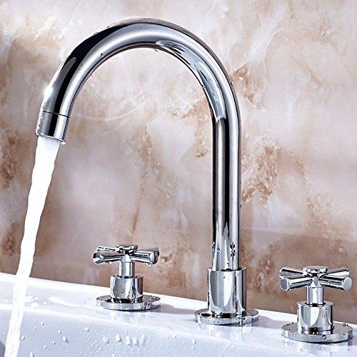LHbox Bad Armatur in Bad für Waschbecken Waschtisch Wasserhahn Waschtischarmatur Home Waschtisch Armatur Waschbecken das Kupfer kalt Wasser DREI-Loch Wasserhahn zu Split -