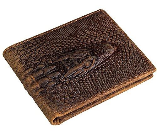 Everdoss Hommes sac à main en cuir de vache portefeuilles portemonnaie court pliable style rétro motif crocodile